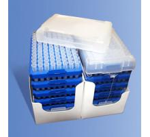 RFL-222-C Наконечники универсальные для дозаторов объемом 200 мкл, в штативе (блок 96х10, градуированные, с фаской, Axygen, 960шт./уп.)